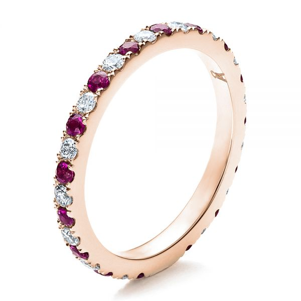 Pink Sapphire Eternity Band with Matching Engagement Ring - Image