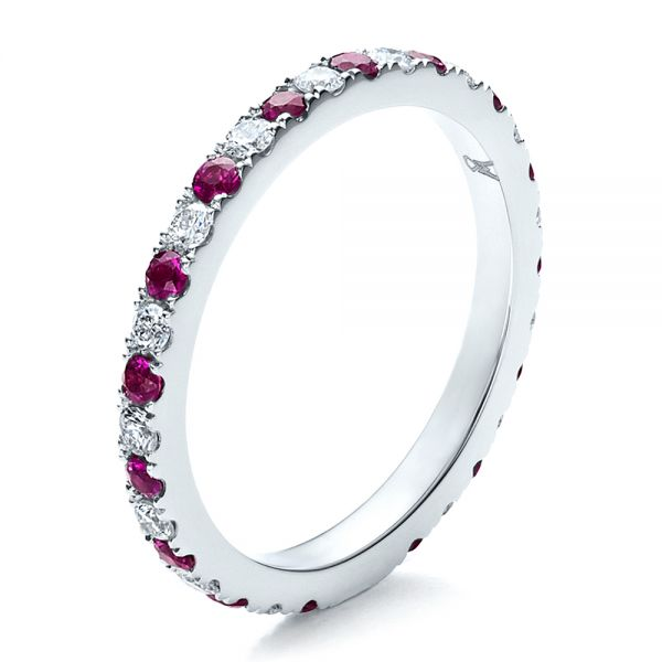18k White Gold Pink Sapphire Eternity Band With Matching Engagement Ring - Three-Quarter View -