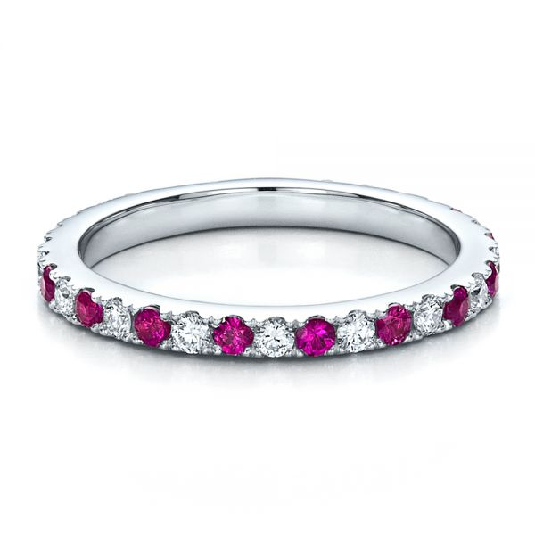 18k White Gold Pink Sapphire Eternity Band With Matching Engagement Ring - Flat View -