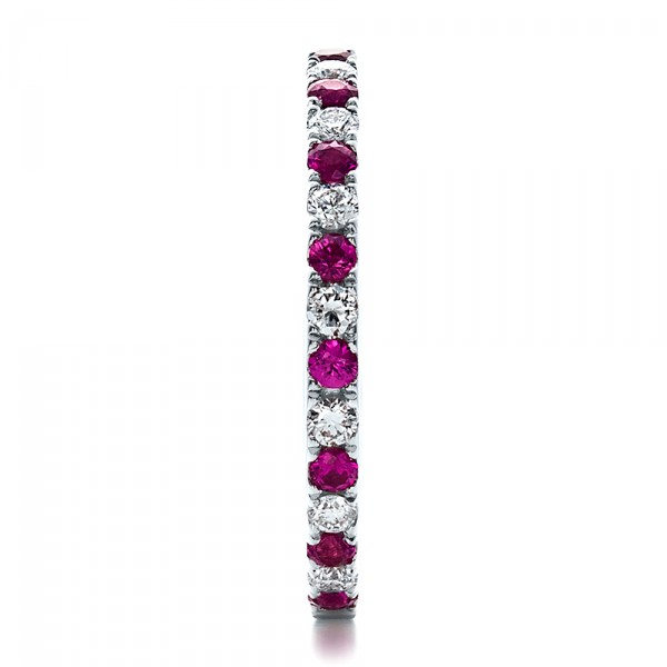 Pink Sapphire Eternity Band with Matching Engagement Ring - Side View