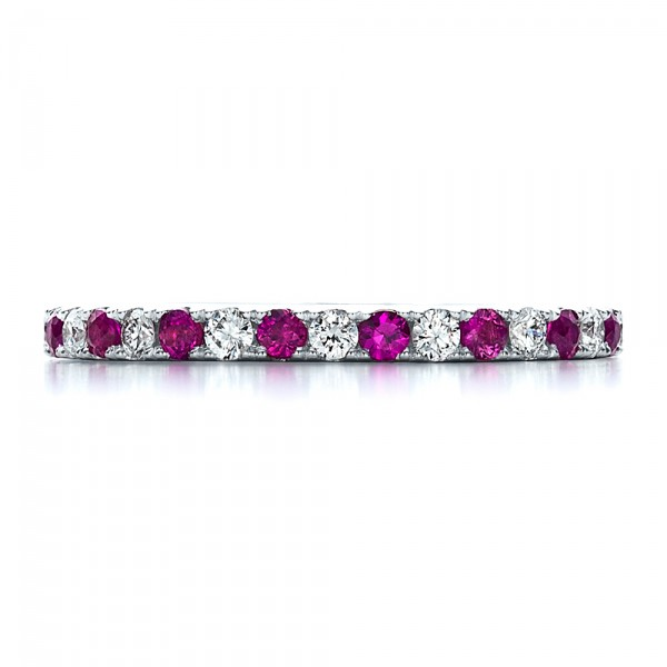 Pink Sapphire Eternity Band with Matching Engagement Ring - Top View