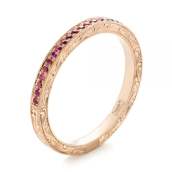 14k Rose Gold Pink Sapphire Wedding Band - Three-Quarter View -