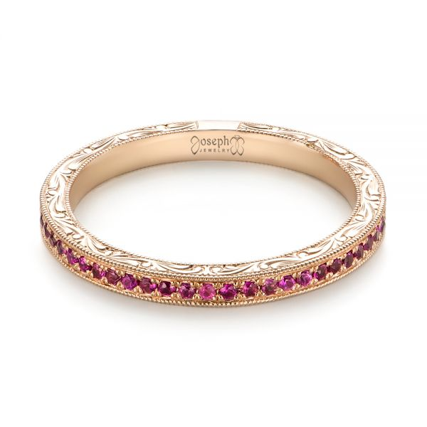 14k Rose Gold Pink Sapphire Wedding Band - Flat View -