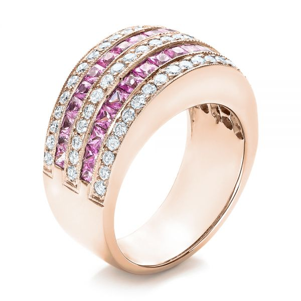 18k Rose Gold 18k Rose Gold Pink Sapphire And Diamond Anniversary Band - Three-Quarter View -  101331