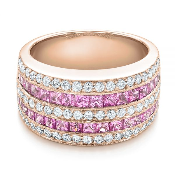 18k Rose Gold 18k Rose Gold Pink Sapphire And Diamond Anniversary Band - Flat View -  101331