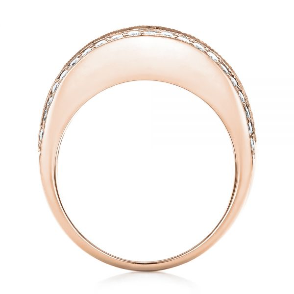 18k Rose Gold 18k Rose Gold Pink Sapphire And Diamond Anniversary Band - Front View -  101331