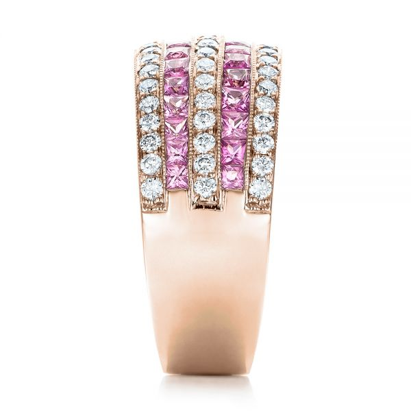 18k Rose Gold 18k Rose Gold Pink Sapphire And Diamond Anniversary Band - Side View -  101331