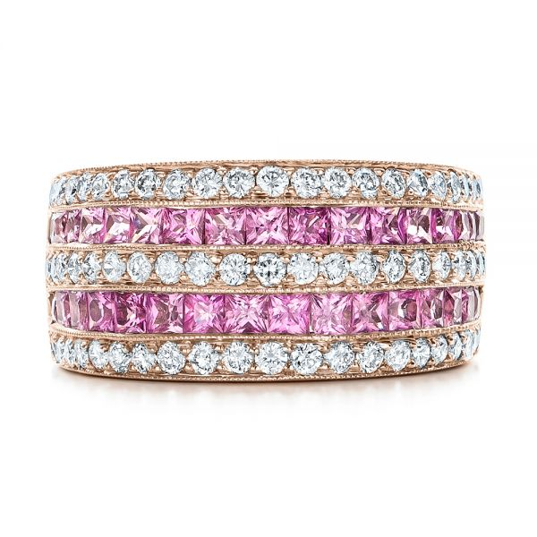18k Rose Gold 18k Rose Gold Pink Sapphire And Diamond Anniversary Band - Top View -  101331
