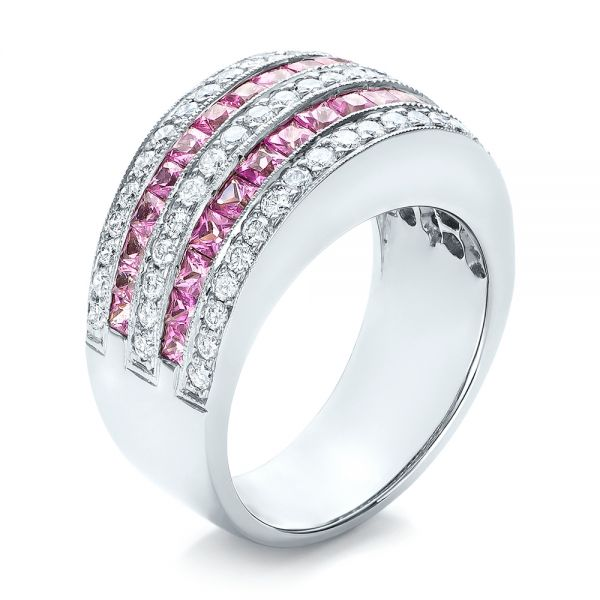 18k White Gold Pink Sapphire And Diamond Anniversary Band - Three-Quarter View -