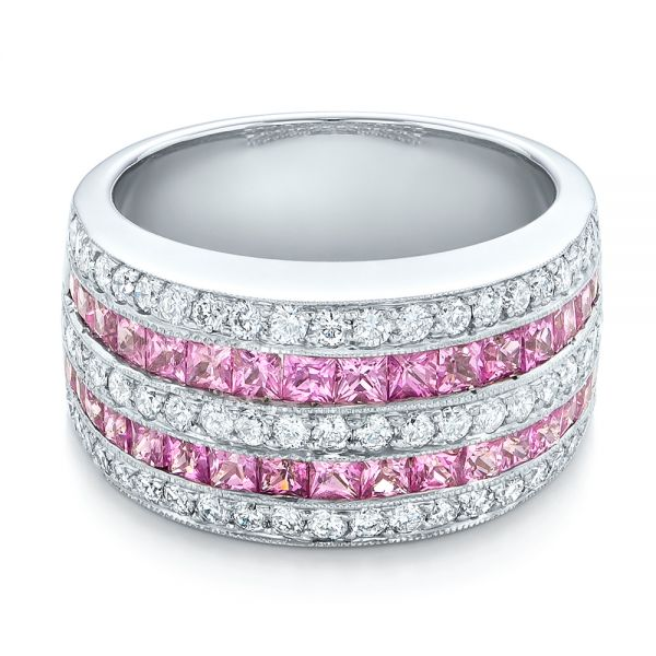 18k White Gold Pink Sapphire And Diamond Anniversary Band - Flat View -