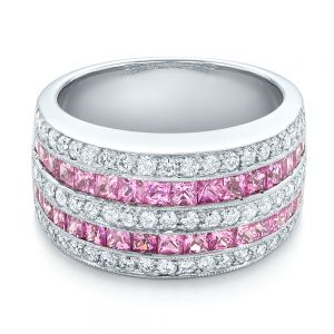Pink Sapphire and Diamond Anniversary Band