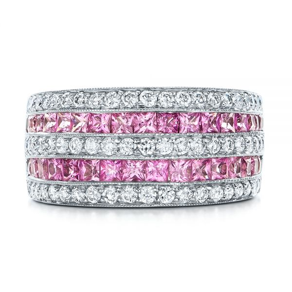 18k White Gold Pink Sapphire And Diamond Anniversary Band - Top View -