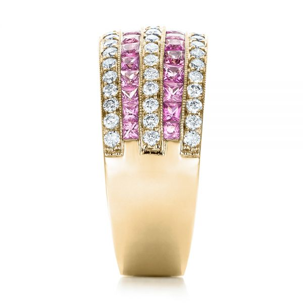 14k Yellow Gold 14k Yellow Gold Pink Sapphire And Diamond Anniversary Band - Side View -