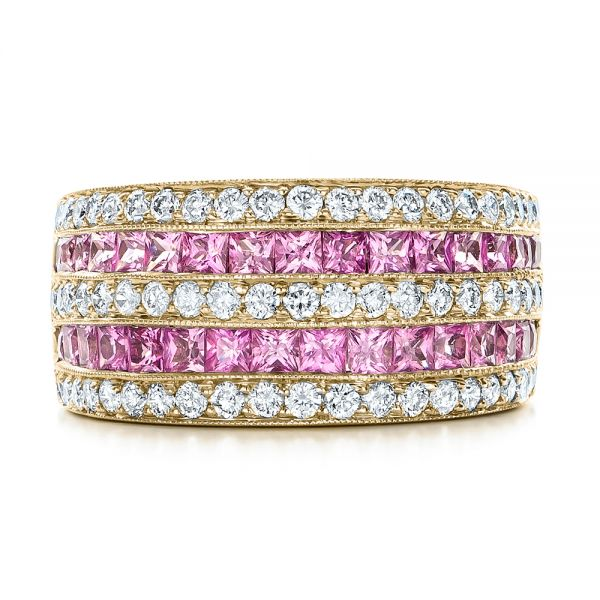 14k Yellow Gold 14k Yellow Gold Pink Sapphire And Diamond Anniversary Band - Top View -