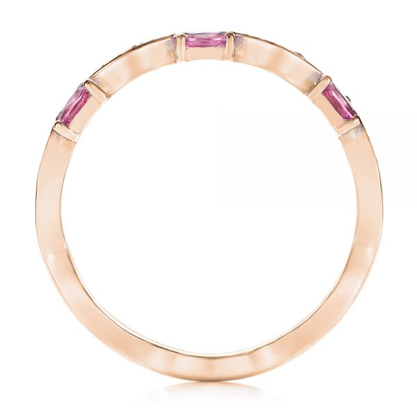 14k Rose Gold 14k Rose Gold Pink Sapphire And Diamond Anniversary Ring - Front View -