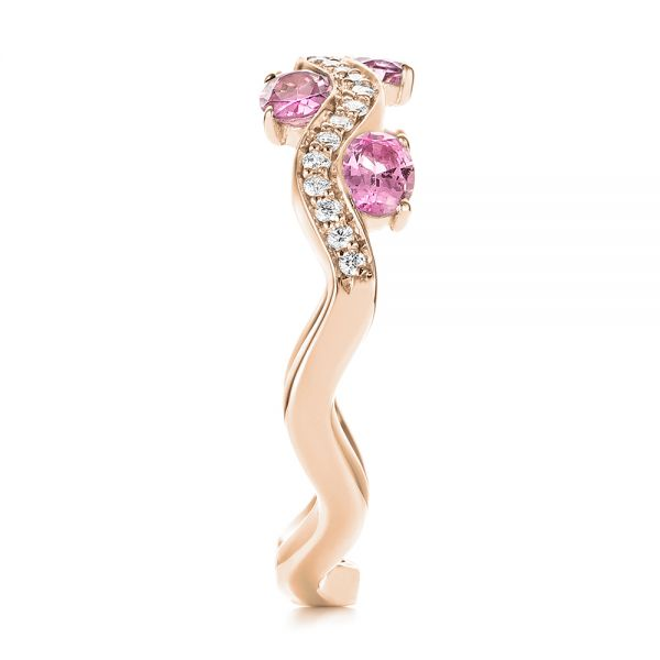 14k Rose Gold 14k Rose Gold Pink Sapphire And Diamond Anniversary Ring - Side View -