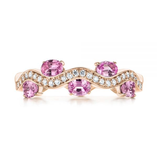 14k Rose Gold 14k Rose Gold Pink Sapphire And Diamond Anniversary Ring - Top View -