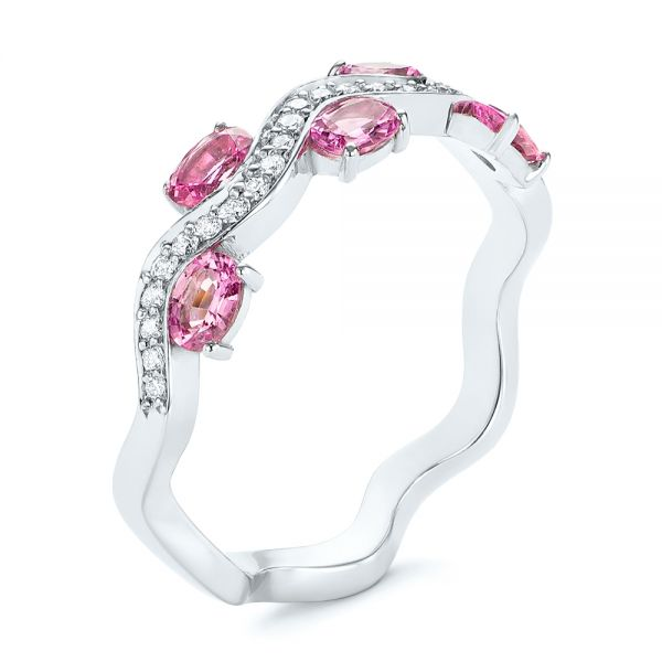 Pink Sapphire and Diamond Anniversary Ring - Image