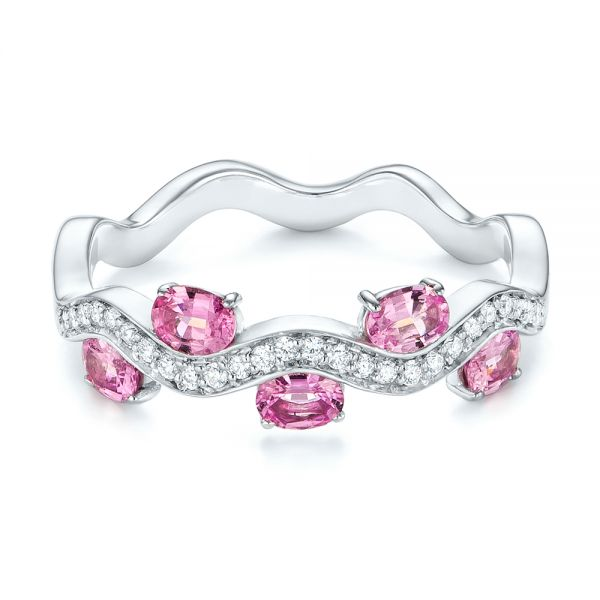 Pink Sapphire and Diamond Anniversary Ring - Flat View -  103626 - Thumbnail