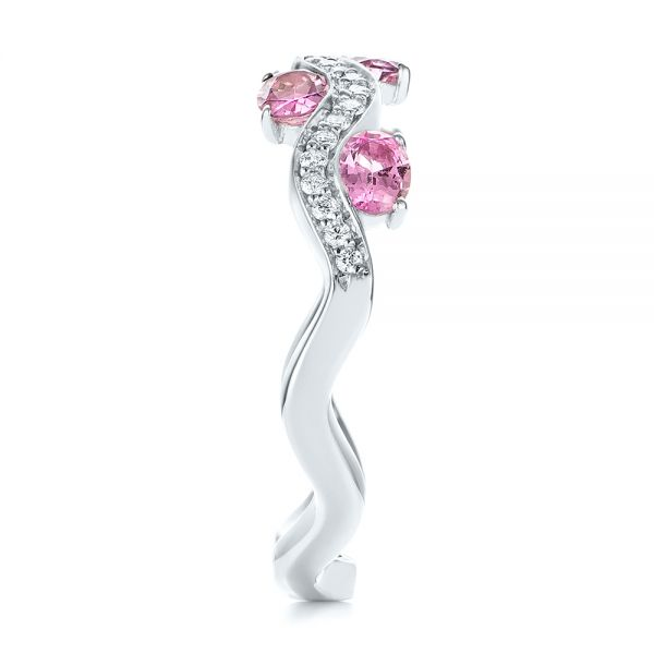 Pink Sapphire and Diamond Anniversary Ring - Side View -  103626 - Thumbnail