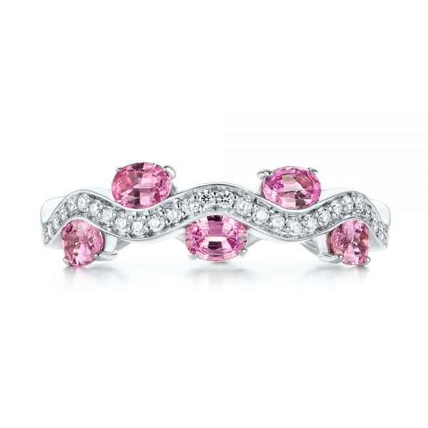Pink Sapphire and Diamond Anniversary Ring - Top View -  103626 - Thumbnail