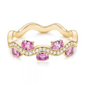 Pink Sapphire and Diamond Anniversary Ring
