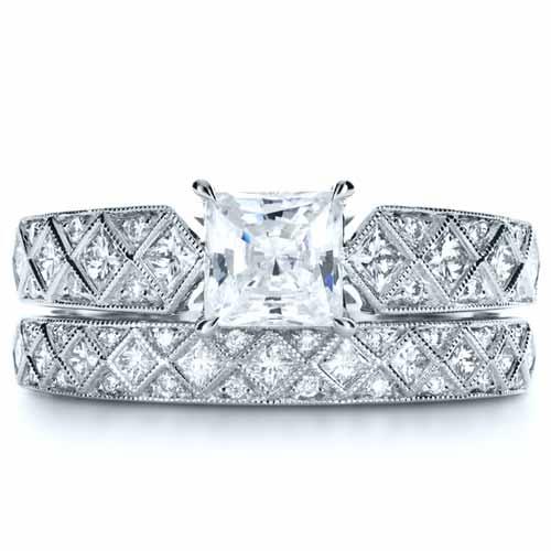 Princess Cut Diamond Womens Wedding Band 1145