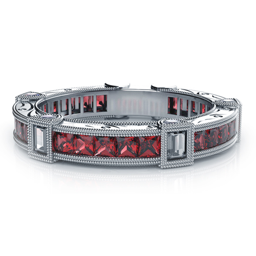 Princess Cut Rubies and Baguette Diamond Women's Anniversary Band