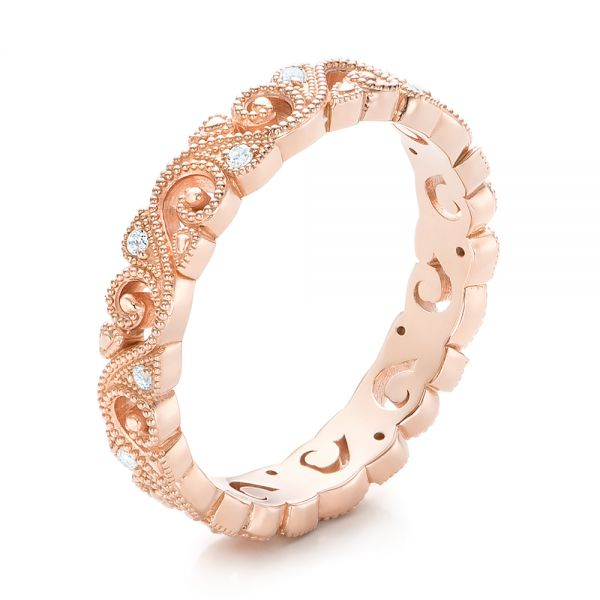 Rose Gold Diamond Organic Stackable Eternity Band - Image