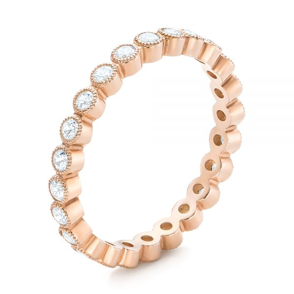 Rose Gold Diamond Stackable Eternity Band - Image
