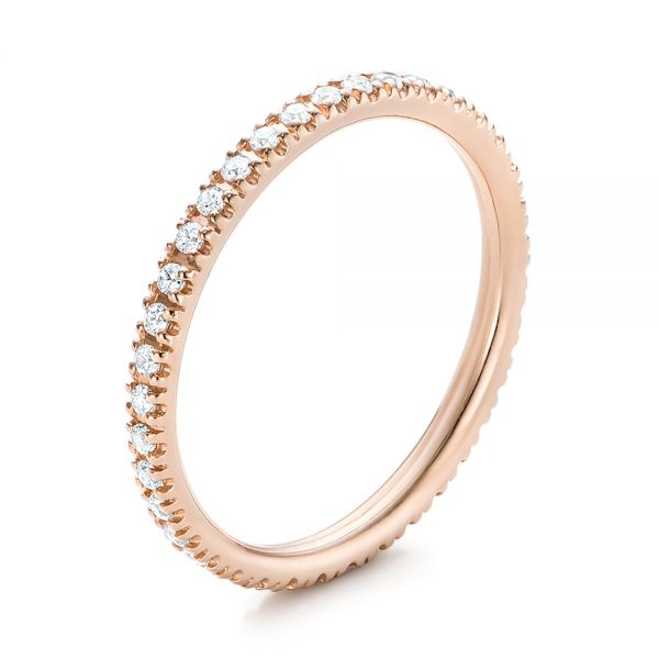 Rose Gold Diamond Stackable Eternity Band - Three-Quarter View -  101927 - Thumbnail