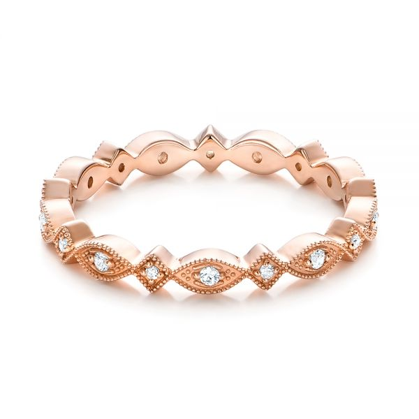 Rose Gold Diamond Stackable Eternity Band - Flat View -  101897 - Thumbnail
