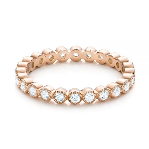 18k Rose Gold Diamond Stackable Eternity Band - Flat View -  101905