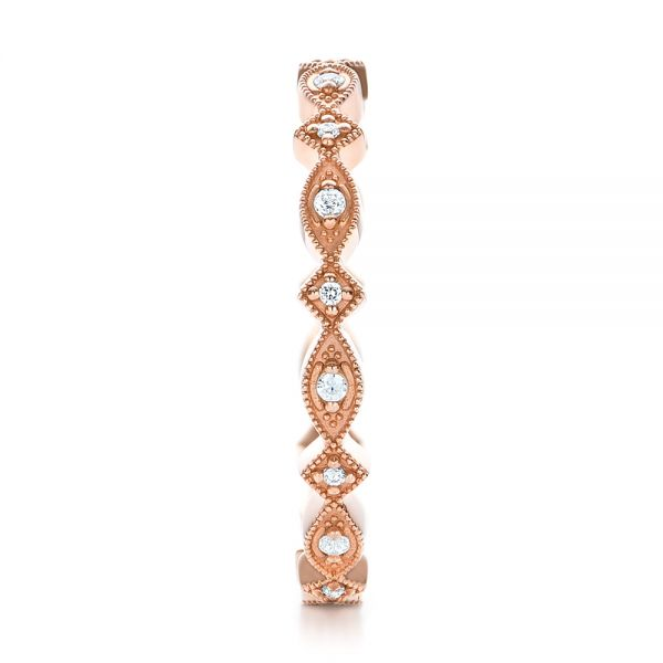 18k Rose Gold Diamond Stackable Eternity Band - Side View -