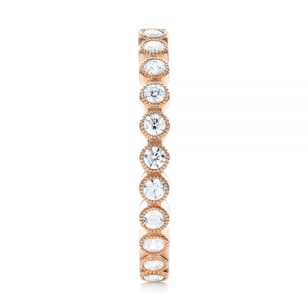 18k Rose Gold Diamond Stackable Eternity Band - Side View -  101905