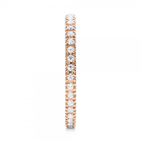 Rose Gold Diamond Stackable Eternity Band - Side View