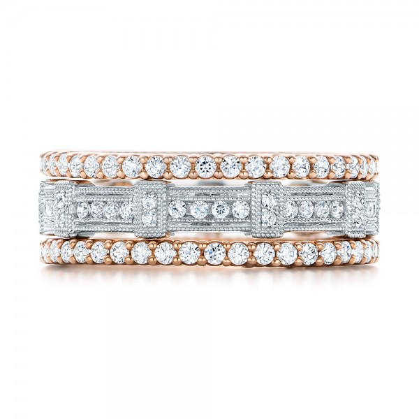 Rose Gold Diamond Stackable Eternity Band - Top View