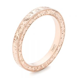 Rose Gold Hand Engraved Wedding Band - Image