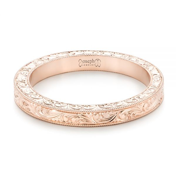 Rose Gold Hand Engraved Wedding Band - Flat View -  102439 - Thumbnail