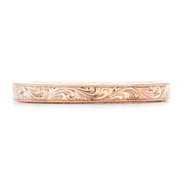 Rose Gold Hand Engraved Wedding Band - Top View -  102439 - Thumbnail