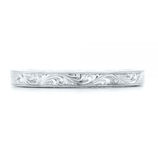 14k White Gold 14k White Gold Hand Engraved Wedding Band - Top View -  102439