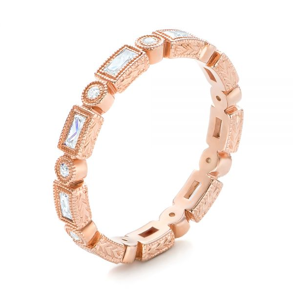 Rose Gold Round and Baguette Diamond Stackable Eternity Band - Image