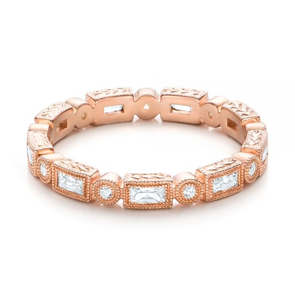 Rose Gold Round and Baguette Diamond Stackable Eternity Band - Flat View -  101943 - Thumbnail
