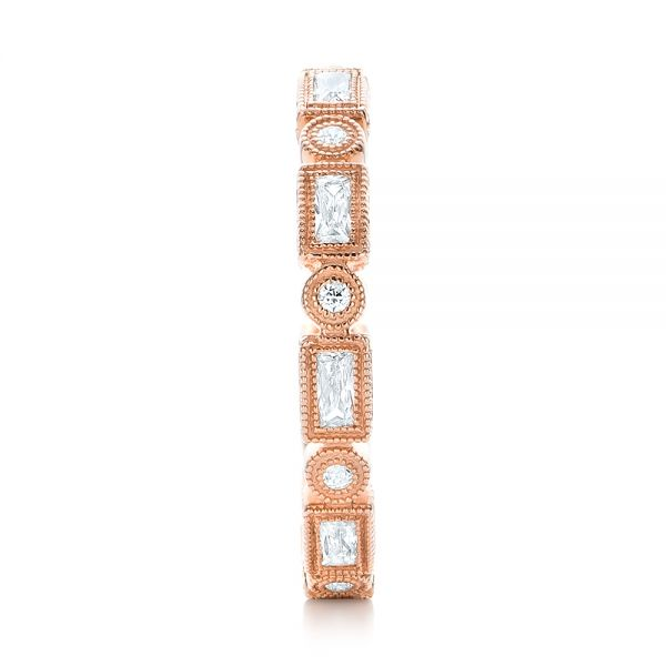 Rose Gold Round and Baguette Diamond Stackable Eternity Band - Side View -  101943 - Thumbnail