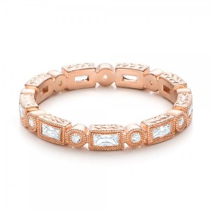 Rose Gold Round and Baguette Diamond Stackable Eternity Band