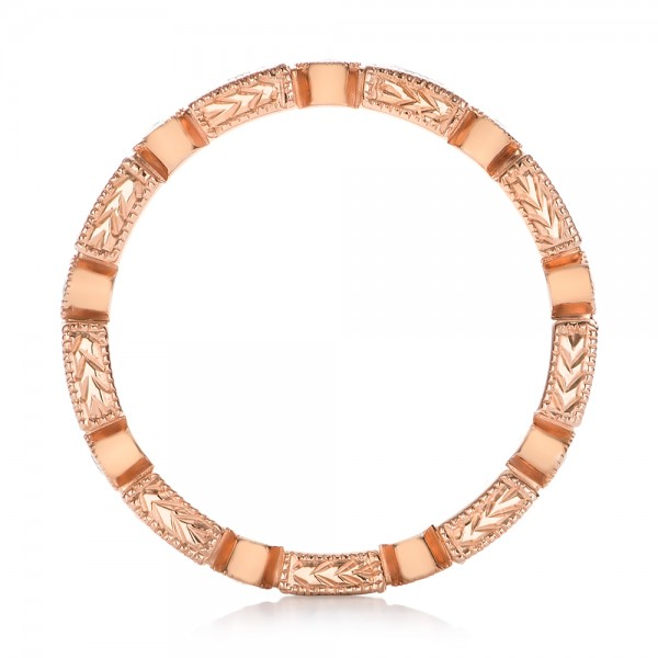 Rose Gold Round and Baguette Diamond Stackable Eternity Band - Finger Through View