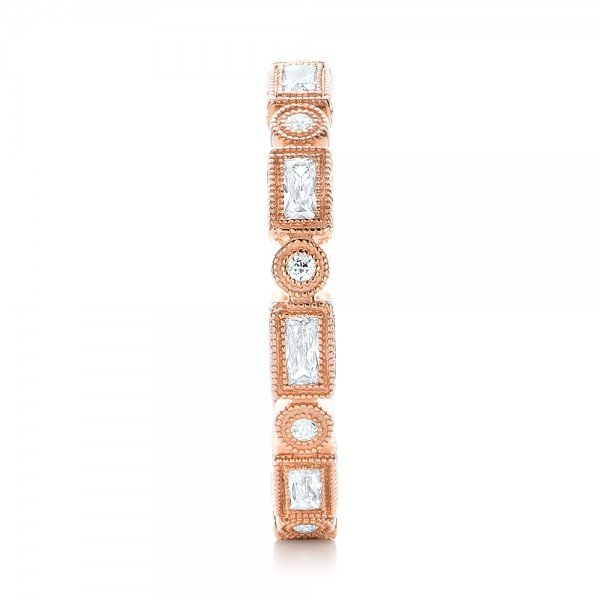 Rose Gold Round and Baguette Diamond Stackable Eternity Band - Side View