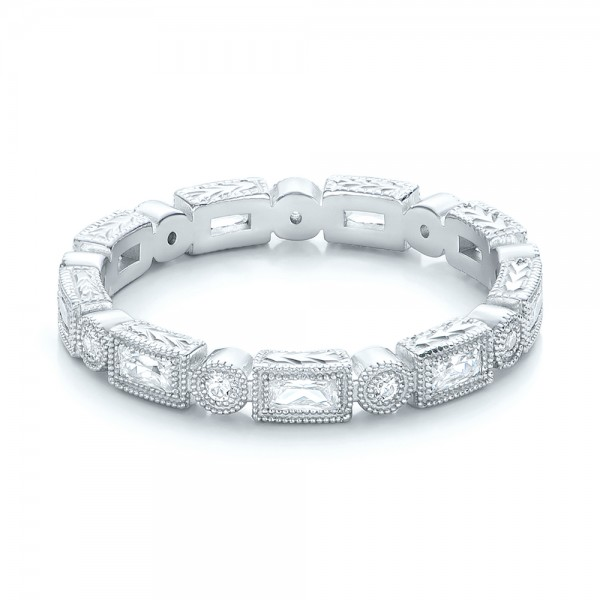 Round and Baguette Diamond Stackable Eternity Band