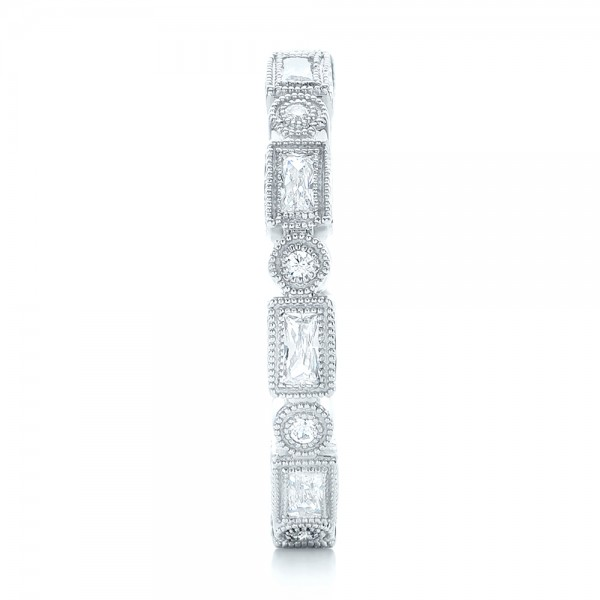 Round and Baguette Diamond Stackable Eternity Band - Side View -  101945 - Thumbnail
