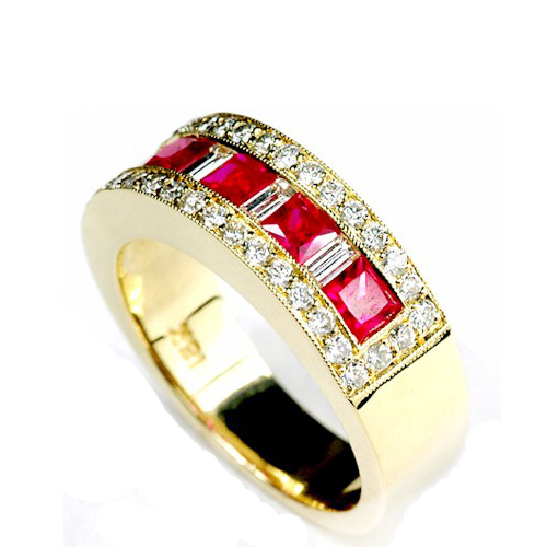 Rubellite and Diamond Women's Wedding Band